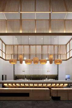 Japanese Restaurant Interior, Japanese Interior, Luxury Interior, Modern Interior, Interior Design, Cafe Restaurant, Restaurant Design, Hotel Buffet, Asian Restaurants
