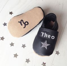 Personalised baby shoes with little silver stars, you can also have babies zodiac star sign symbol and corresponding star constellation on the soles. These unique little shoes are personalised with b. Star Constellations, Unique Baby Gifts, Zodiac Star Signs, String Bag, Small Baby, Baby Feet, Silver Stars, Personalized Baby, New Baby Products