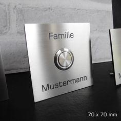 Haustürklingel aus Edelstahl 70x70 mm Klingelschild