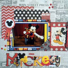Meet Mickey - Scrapbook.com - Add Disney elements like buttons and stickers to the title for a fun look.