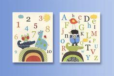 Baby room art Nursery Decor Baby Wall Art set of 2 by DesignByMaya, $48.00