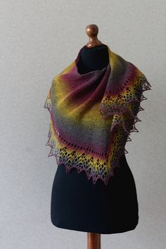 Elegant wool lace scarf  purple mustard plum by KnittyStories