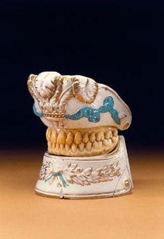 french denture minder  Ruspini dentures and denture holder, c 1795. www.dentalcapecod.com www.facebook.com/DAOCC Tweet: @Dental Associates of Cape Cod