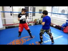 RENA light sparring w a student   kick boxing shoot boxing
