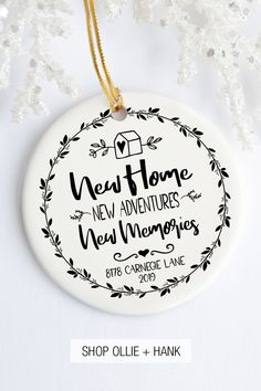 Looking for first Christmas in a new home gift ideas? Our personalized new home ornaments are a handmadekeepsake to remember that 1st Christmas in a new house. A unique first time homeowner gift, new home gift for friends or a couple, housewarming gift idea, Christmas gift idea for new neighbors or gift idea from realtor. Housewarming Gift Ideas First Home, Personalized Housewarming Gifts, First Home Gifts, New Home Gifts, Real Estate Gifts, Christmas Gifts, Christmas Ornaments, 1st Christmas, Xmas