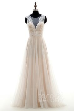 Pretty A-Line Illusion Sweep-Brush Train Tulle Ivory/Champagne Sleeveless Zipper with Button Wedding Dress LD3569