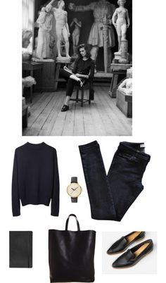 Untitled #80 by fleur-de-neige featuring Moleskine La Garçonne Moderne vintage sweater / Vanessa Bruno Athé jeans / CÉLINE black handbag / Nixon black bracelet / Moleskine office accessory, $25
