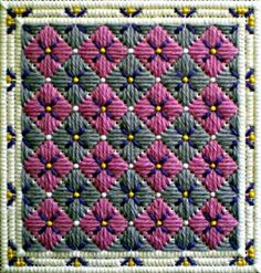 Stitched Hydrangea Needlepoint Project - Cheryl C. Fall