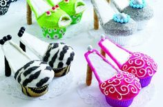 ☆.•♥• High Heel Cupcakes Recipe! •♥•☆  Ingredients: 12 graham crackers 12 vanilla or chocolate cookie sticks (Pirouettes, Oreo Fun Stix) 1 and one-half cups white or cocoa candy melting wafers (Wilton) 1 cup decorating sugar, color coordinated to match shoe style (see Sources) 2 cans (16 oz each) vanilla frosting, color-coordinated to match shoe style Food coloring, color-coordinated to match shoe style 24 cupcakes baked in liner style of your choice, 2 cupcakes per style