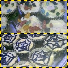 Fear factor party: Cupcakes I made for my daughters fear factor party. (Chocolate rocks and spider webs on camoflauge cake) #NiEsha