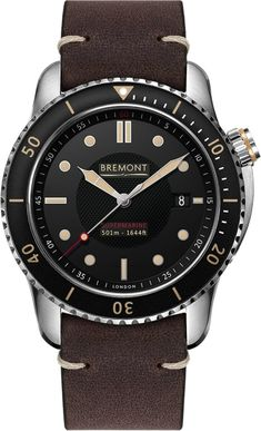 Bremont Watch Supermarine Black A true divers instrument, this Bremont Supermarine watch was designed by Bremont founders Nick and Giles English to be an ‰ۡÌÝÌáamphibious watch‰ۡó Men's Watches, Luxury Watches, Cool Watches, Watches For Men, Unique Watches, Fossil Watches, Fashion Watches, Brown Leather Strap Watch, Calf Leather