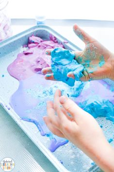 Galaxy Oobleck Easy Science Activities - Natural Beach Living Space Activities For Kids, Party Activities, Science Activities, Fun Galaxy, Galaxy Colors, Star Wars Birthday, Star Wars Party, How To Make Oobleck, Purple Food Coloring