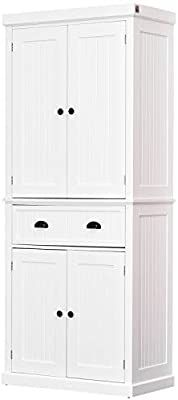 Amazon Com Homcom 72 H Traditional Colonial Freestanding Kitchen Pantry Cupboard Cabinet White Laundry Room Cabinets Freestanding Kitchen Building A Kitchen