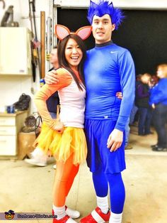 Chris: This is my boyfriend as Sonic the Hedgehog and me as Tails the Fox. We simply got blue and orange outfits from thrift stores, duct taped our sneakers red and...