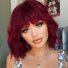 Amazon.com Most Wished For: Items customers added to Wish Lists and registries most often in Hair Replacement Wigs Red Hair With Bangs, Wigs With Bangs, Red Bob Hair, Shoulder Length Hair With Bangs, Red Hair With Blonde Tips, Highlights On Red Hair, Red Hair With Dark Roots, Red Hair Fringe, Curly Red Hair