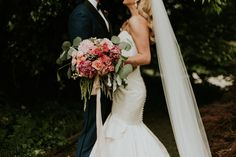 glamorous pink white and peach bridal bouquet
