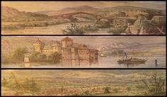 Fore-edge painting. The Works of Lord Byron (London : Murray, 1819) – in three volumes, with scenes of the Eurotas river in Greece, Chillon Castle in Switzerland, and a view of Mont Blanc and the Chamonix valley.