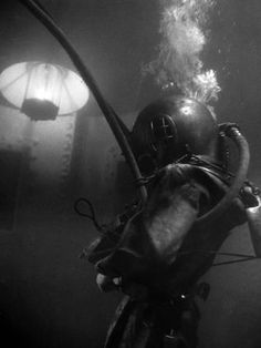 Photographic Print: Diver Wearing Deep Sea Diving Suit in the Water : 24x18in
