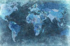 Fototapet R10773 World Map, blue
