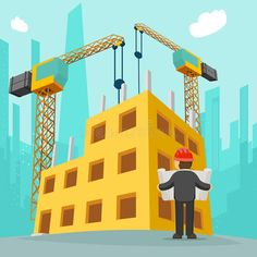 Building construction concept by Microvector on Cartoon Photo, Cartoon Pics, Print Advertising, Creative Advertising, Engineer Cartoon, Cartoon Building, Wave Illustration, Kids Room Murals, Powerpoint Design Templates