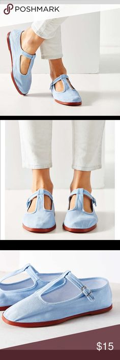 Cotton Mary Jane flats Brand new in package!!!  Other colors available in different listings.  Size is 9.  T-strap, light blue.  Bundle & save!!!✌🏽️ Urban Outfitters Shoes Flats & Loafers