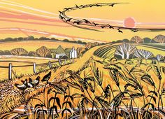 'Harvest Field' By Printmaker Rob Barnes. Blank Art Cards By Green Pebble.