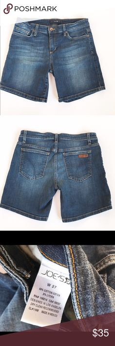 Joes Jeans shorts Denim shorts from Joes Jeans, size 27. Excellent condition, like new. Flat measurements are waist: 15.5, hips: 17, inseam: 6.5, and length: 15 inches. 98% cotton, 2% Lycra. Joe's Jeans Shorts