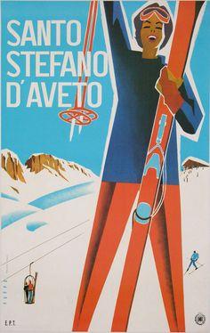 Affiche Ancienne Santo Stefano D'Aveto SKI Montagne PAR Puppo 1950 | eBay