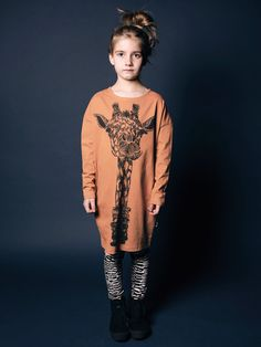 Mainio Clothing AW15 - Oversize tunic with giraffe print - camel