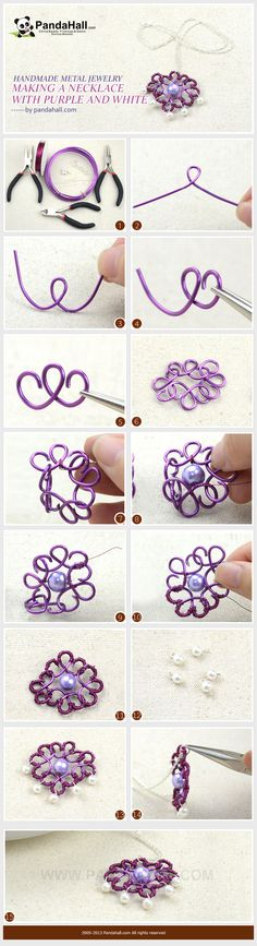 Handmade Metal Jewelry- Making a Necklace with Purple and White Colors from pandahall.com