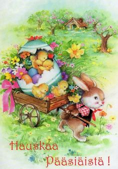 Easter Bunny and baby chicks Easter Art, Easter Crafts, Easter Bunny, Happy Easter, Vintage Greeting Cards, Vintage Christmas Cards, Valentine Poster, Illustrations Vintage, Easter Illustration