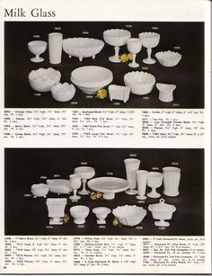 Two pages of milk glass listed. Vintage Pyrex, Vintage Ads, Fenton Milk Glass, Antique Glassware, Napkin Folding, Indiana Glass, Antiques For Sale, Carnival Glass, Glass Collection