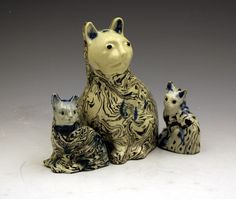 Superb 18th century Staffordshire Agateware Figures of Cats