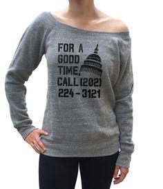 Women's For a Good Time Call Congress Scoop Neck Fleece - Juniors Fit - Activist Shirt