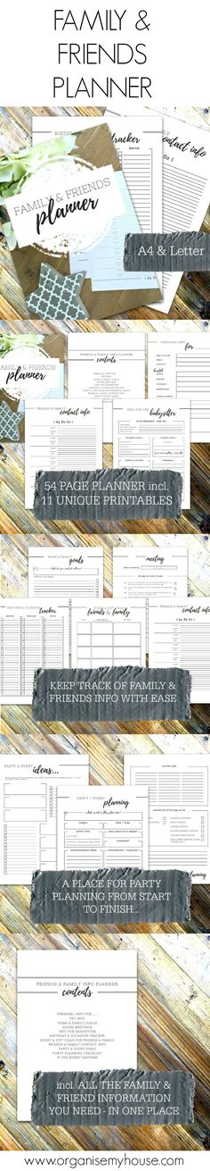 Family and friends planner. Includes address book, babysittters info sheet and much more. Keep track of the family with these homemaking printables. Home management binder printables - home file - use by itself or as part of the Home File bundle (35% off when bought as part of the bundle)