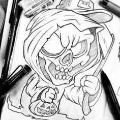 Easy Skull Drawings, Tattoo Design Drawings, Art Drawings Sketches Simple, Doodle Drawings, Colorful Drawings, Cartoon Drawings, Cartoon Art, Graffiti Drawing, Graffiti Lettering