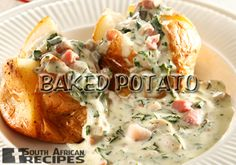 Baked potato with bacon, mushroom and spinach sauce Bacon Stuffed Mushrooms, Bacon Mushroom, Beef Hotpot, South African Recipes, Ethnic Recipes, Snack Recipes, Cooking Recipes, Delicious Recipes, Snacks