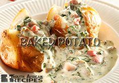 South African Recipes BAKED POTATO (w Bacon, Mushroom & Spinach Sauce) (Carmen Hendricks via You magazine)