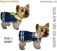 Nautically themed Ships Ahoy Sailor Dog Dress Pattern for your little dog! Constructed of cotton and cotton blend fabrics the dog dress is fully lined using Velcro closures on the neck and belly tabs for ease of dressing. The pattern features a choice of collars. Choose the V-neck collar trimmed with fabric bow or the square collar style trimmed in ribbon. Finishing the look is a box pleated skirt trimmed in buttons and ribbon. No wardrobe is complete without a sailor themed dog outfit…