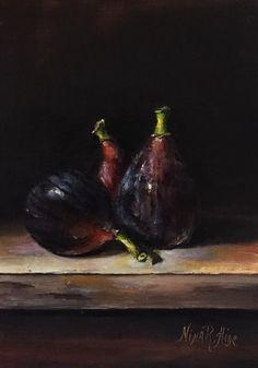 Higos naturaleza muerta pintura al óleo por NinaRAideStudio en Etsy