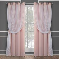 Buy Exclusive Home Curtains Catarina Layered Solid Blackout and Sheer Window Curtain Panel Pair with Grommet Top, Rose Blush, 2 Piece Pink Curtains, Home Curtains, Window Curtains, Curtain Panels, Pink And White Curtains, Nursery Curtains, Rideaux Shabby Chic, Rideaux Design, Home Decor Ideas