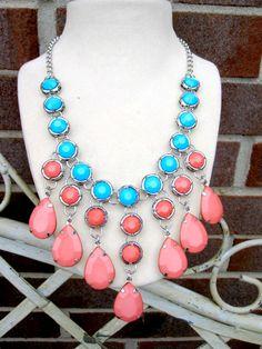 Stunning Teardrop Statement Bib Necklace!  $12.99  #jcrew #anthropologie #trend #springjewelry