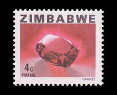 A 1980 stamp from mineral rich Zimbabwe celebrating the Garnet. Now, like most Zimbabwe currency, worthless.