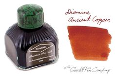 Favorite orange/brown: Diamine Ancient Copper. Most oranges are either way too light to be easily readable, or too brown to be interesting. This finds a perfect middle ground. I keep my Sheaffer Prelude (green with nickel trim) inked with it.