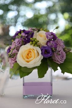Wedding florist in Toronto. Bridal bouquets, corsages and breathtaking floral room decorations all customized wedding flowers in Toronto. Purple Flower Arrangements, Floral Centerpieces, Wedding Centerpieces, Wedding Decorations, Purple Centerpiece, Centrepieces, Deco Floral, Arte Floral, Floral Design