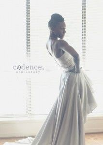 """Dawnette Joseph chose a unique silver wedding gown! She said: """"When shopping for my bridal gown I wanted something short & sassy. But my fiance preferred a traditional dress. This stunning hi-low gown gave us the best of both worlds! It arrived on time & quality exceeded my expectations. I had so many compliments while wearing it! I can't thank you all enough."""" See her dress here: http://www.outerinner.com/gentle-sweetheart-empire-waist-asymmetrical-hem-evening-wear-pd-05477-0.html"""