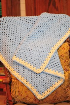 """Jonah's Baby Throw"" blanket done in blue"