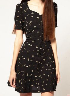 [US$27.99] - Black Musical Note Print Short Sleeve Sweetheart Chiffon Dress : ThatsPoint.com