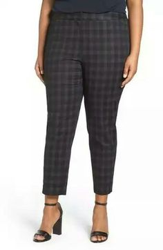 8322fcf8 Plaid Stretch Cotton Blend Ankle Pants (Plus Size) Plaid Pants, Plus Size  Pants