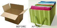 Umelý alebo recyklovaný kartónový úložný box? Pozrite si tento návod na znovuvyužitie krabice na kartónový úložný box - skvelý urob si sám nápad! Inšpirácia